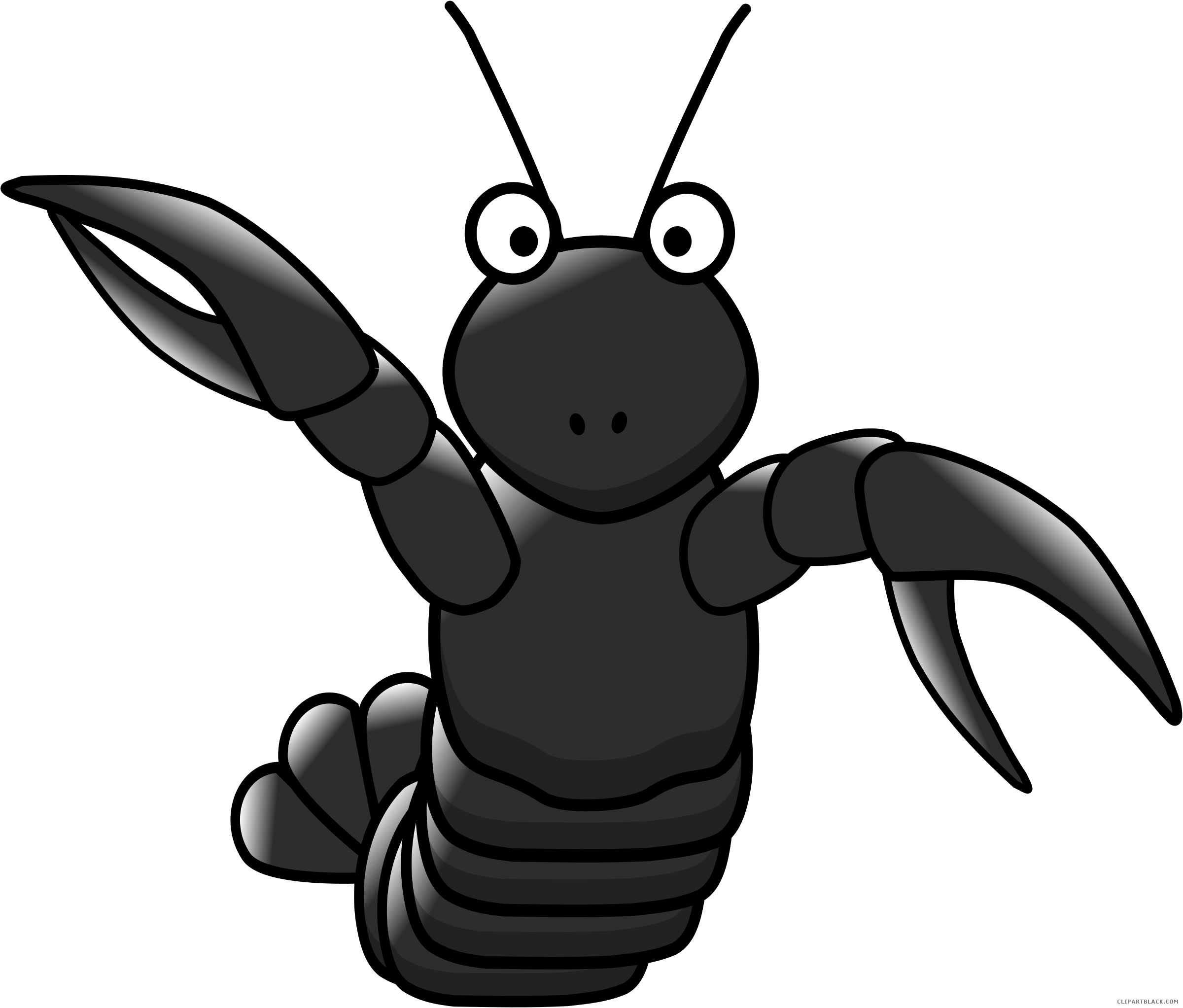 Cartoon animal free black. Lobster clipart sad