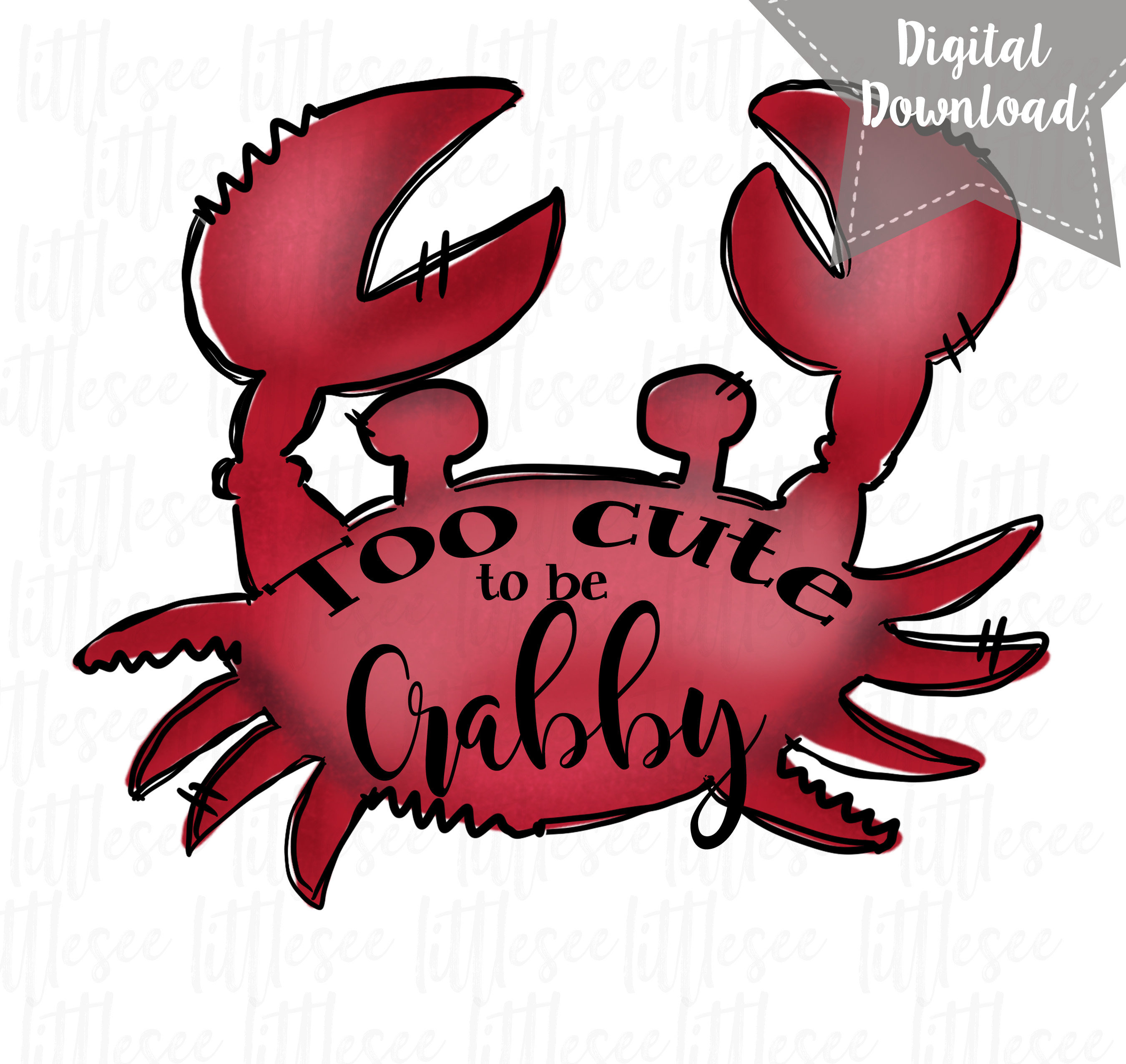 Crab clipart crabby. Beach sublimation download print