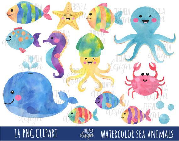 Crab clipart cute octopus.  sale watercolor sea