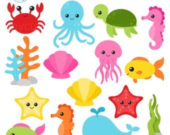 Crab clipart cute underwate animal. Sea animals etsy