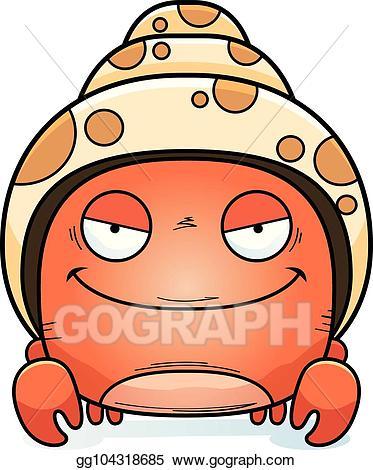 Vector little hermit . Crab clipart evil