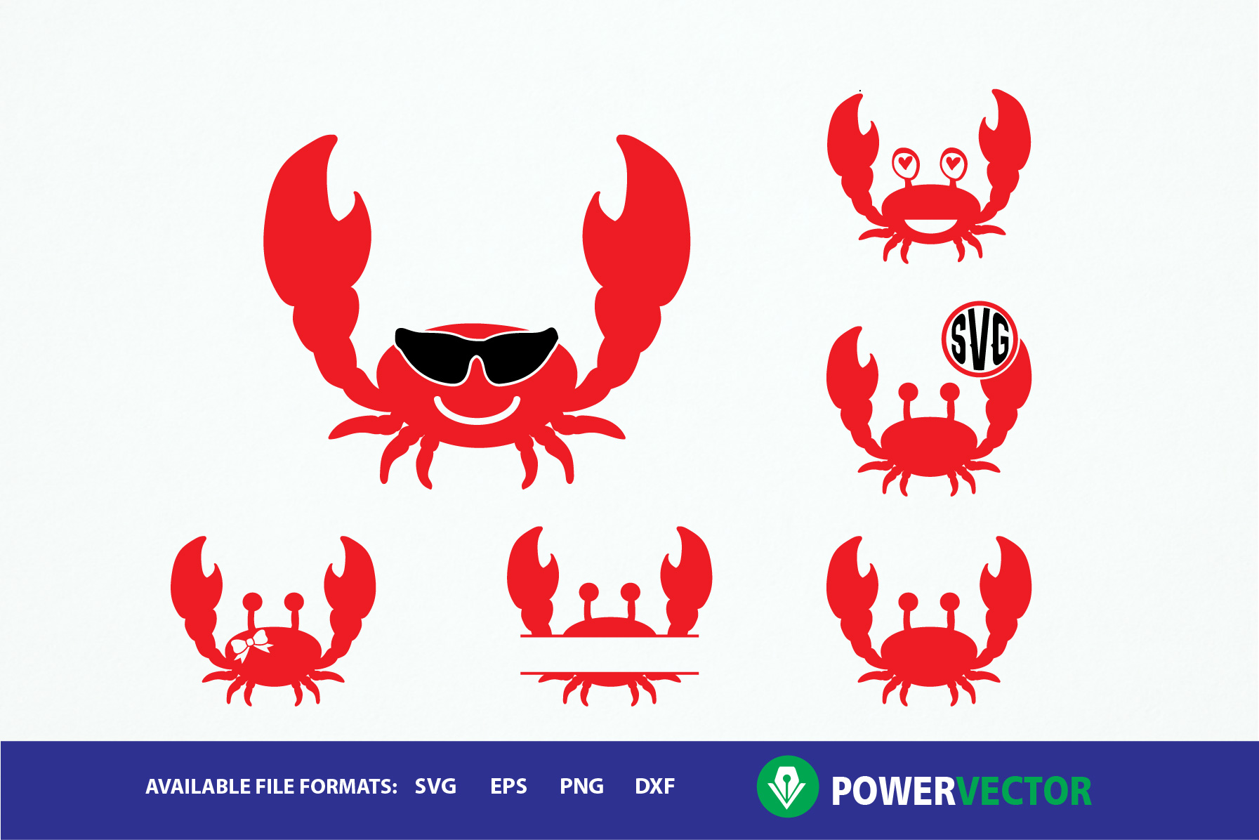 Red svg dxf eps. Crab clipart monogram
