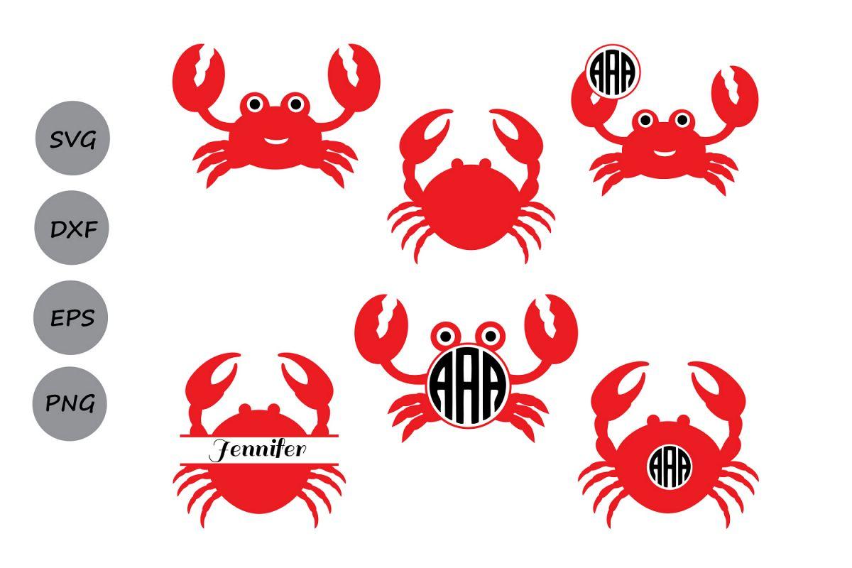 Crab clipart monogram. Svg sea animals nautical