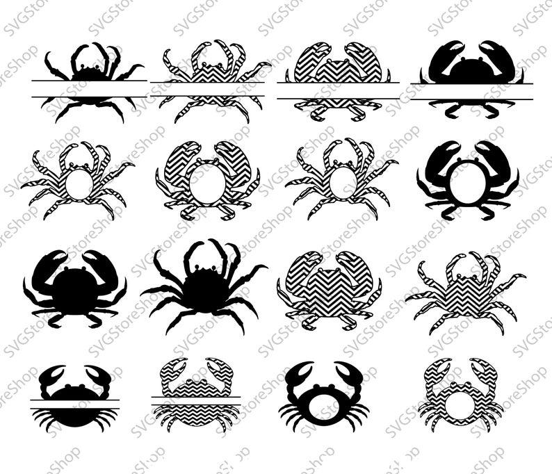 Svg cut files bundle. Crab clipart monogram