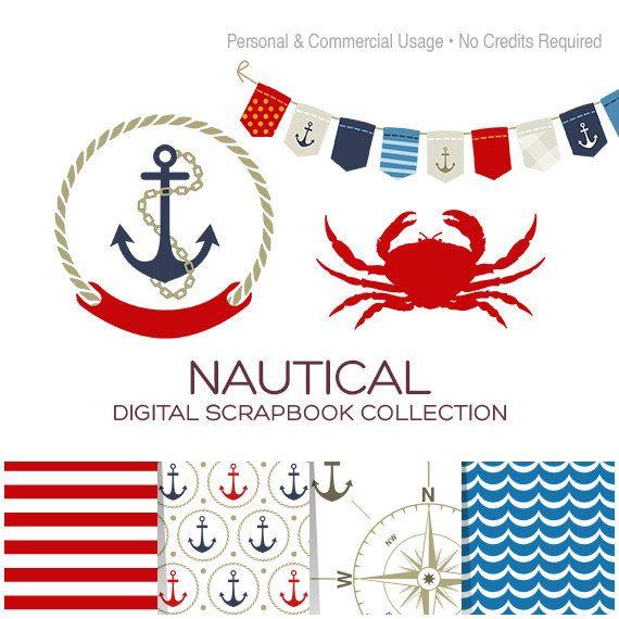 Crab clipart nautical. Clip art digital paper