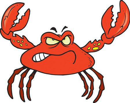 Angry fish in the. Seafood clipart crab leg