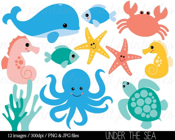 Crab clipart sea creature. Animal under the baby