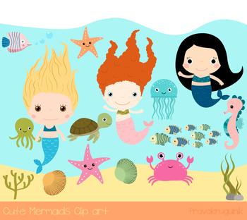 Cute mermaids clip art. Crabs clipart seahorse