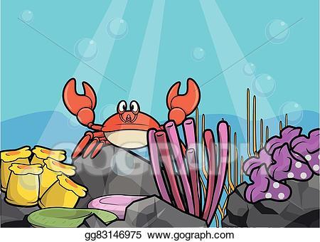 Vector art scenery eps. Crab clipart underwater