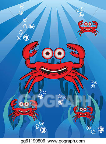 Crab clipart underwater. Eps illustration group vector