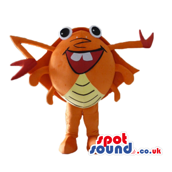 Orange crab with yellow. Crabs clipart big eyed