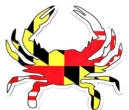 Flag shaped car magnet. Crabs clipart crab maryland