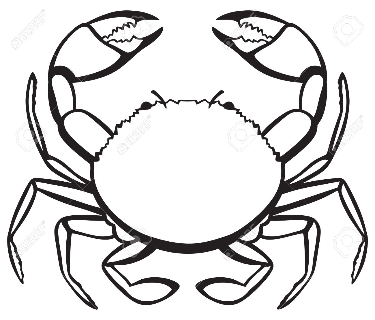 Crabs clipart drawn. Crab line drawing free