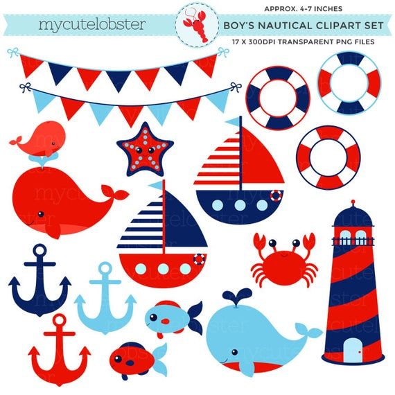 Crabs clipart red whale. Boy s nautical set