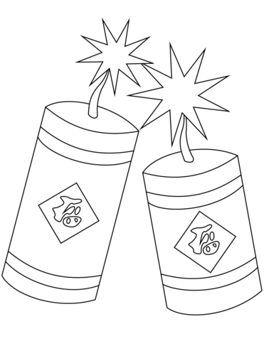 Chinese new year firecrackers. Cracker clipart colouring