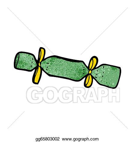 Vector illustration christmas cartoon. Cracker clipart green
