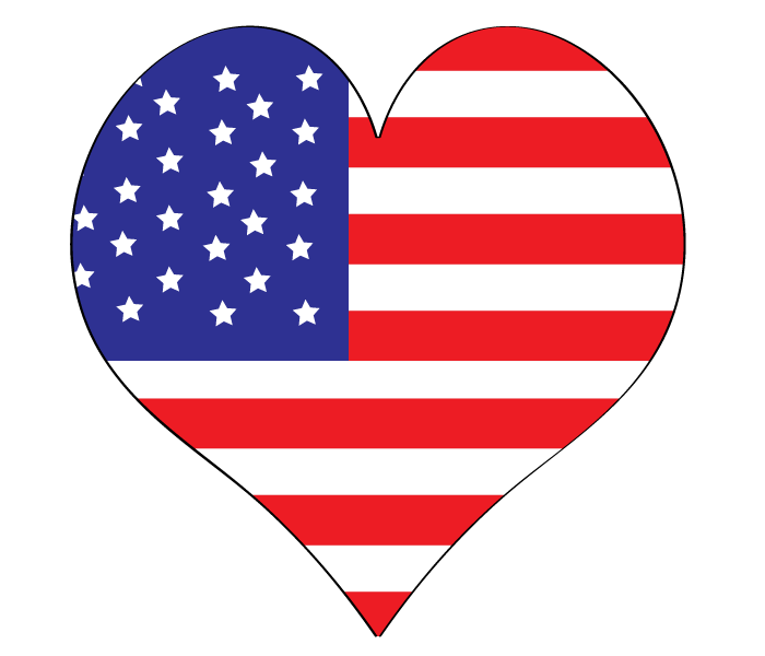 Heart clipart flag.  th of july
