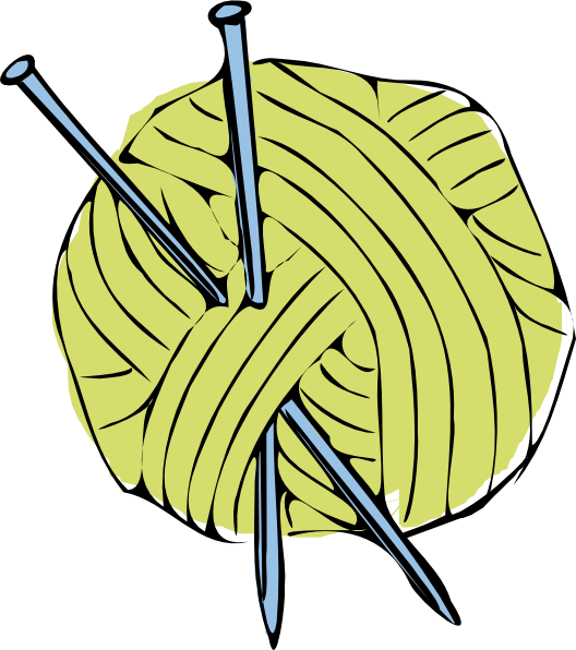 Green yarn ball with. Needle clipart vector