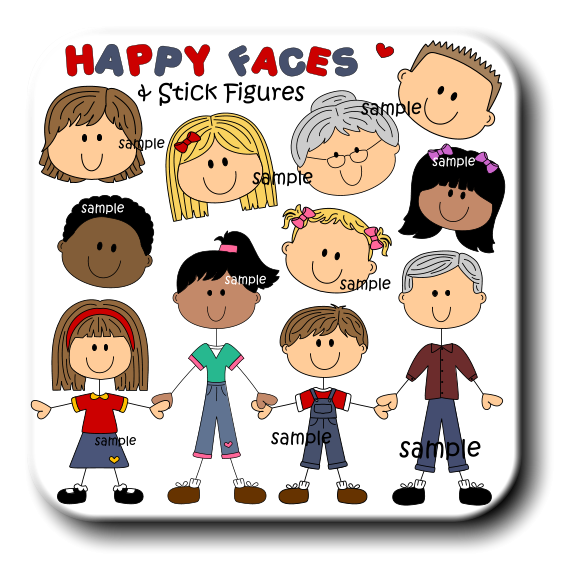 Family member faces stick. Craft clipart craft club