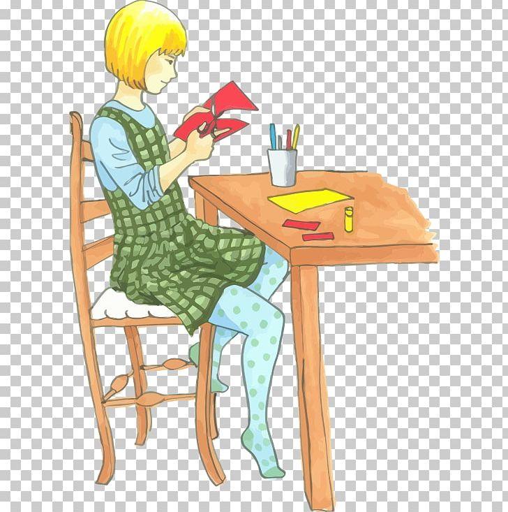 Png art cartoon chair. Craft clipart craft table
