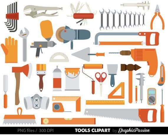 Tools digital art set. Craft clipart craft tool