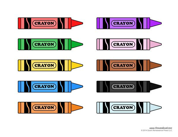 Crayon template printable colors. Crayons clipart solid object