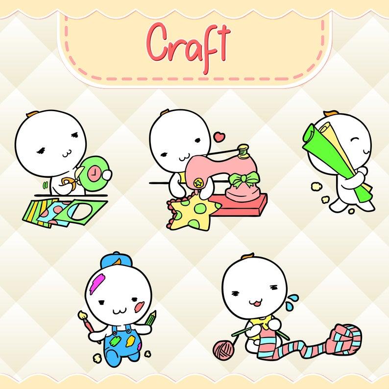 Craft clipart cute. Kawaii design download hand