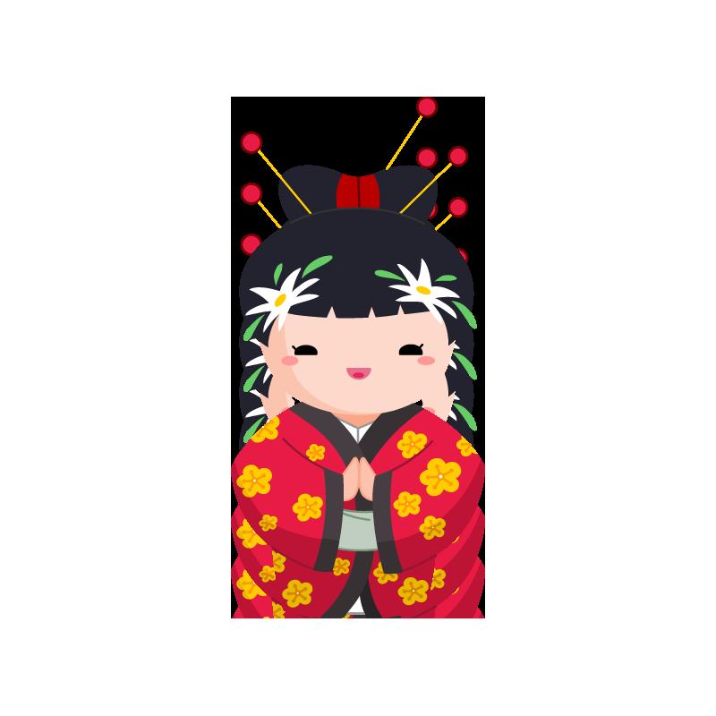 Japanese clipart kokeshi doll. Stickers geisha mimiko and