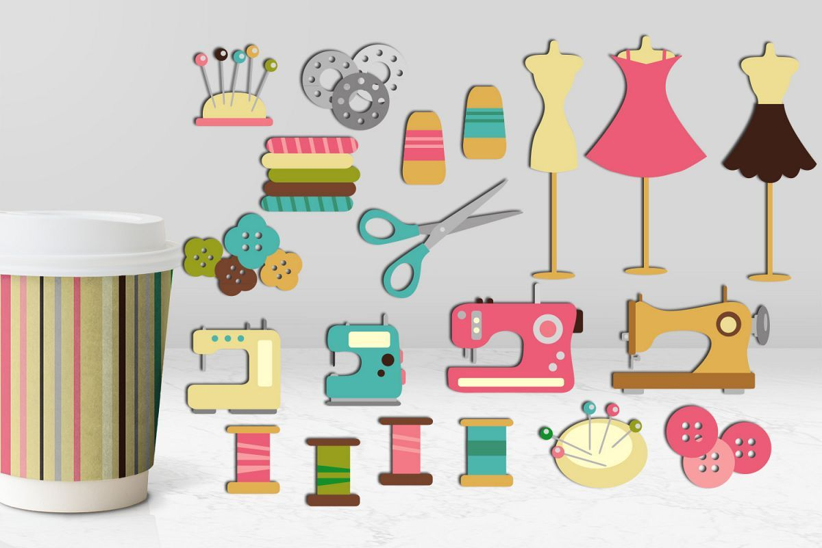 Hobby sewing graphics illustration. Craft clipart diy craft