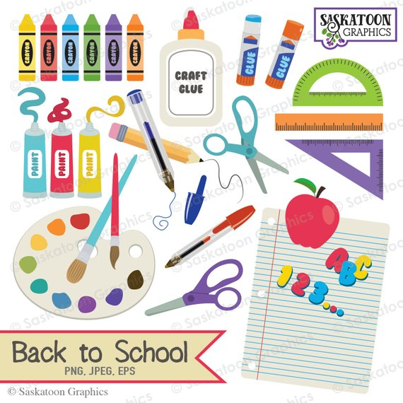 Back to school instant. Craft clipart educational material