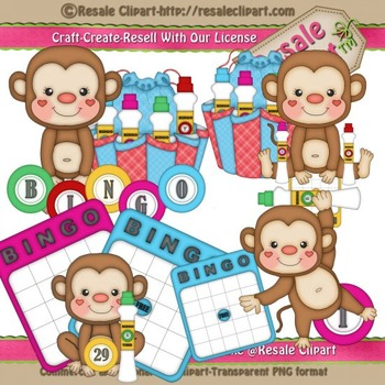 Craft clipart educational material. Bingo monkeys commercial use