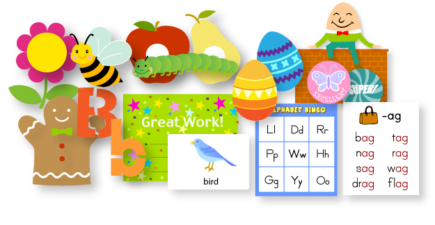 Kizclub printables for kids. Craft clipart educational material