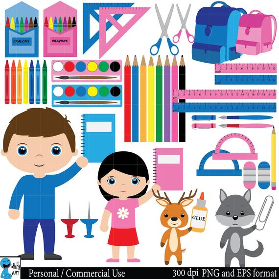 Craft clipart educational material. School supplies set digital