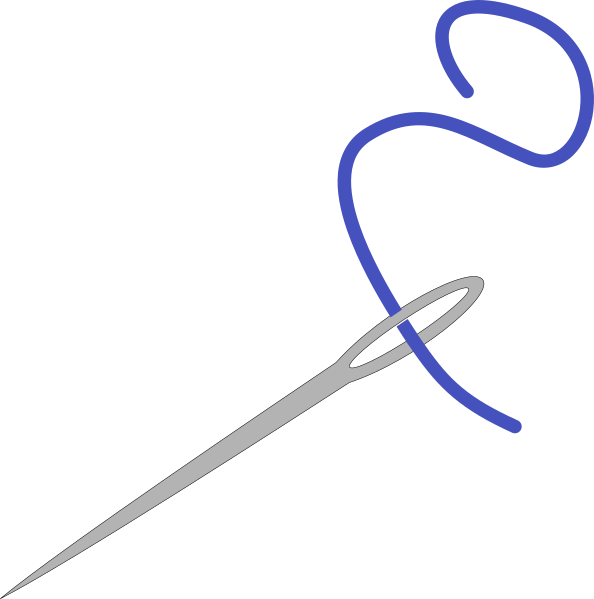 Needle clipart knitting needle. With blue thread clip