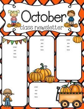 October freebie kindergarten classroom. Crafts clipart preschool newsletter