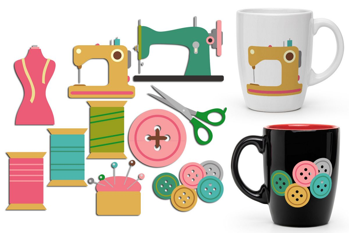 Sew creative hobby graphics. Craft clipart sewing