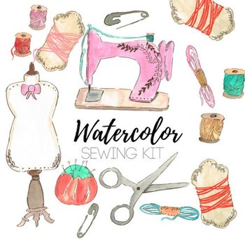 Watercolor . Craft clipart sewing