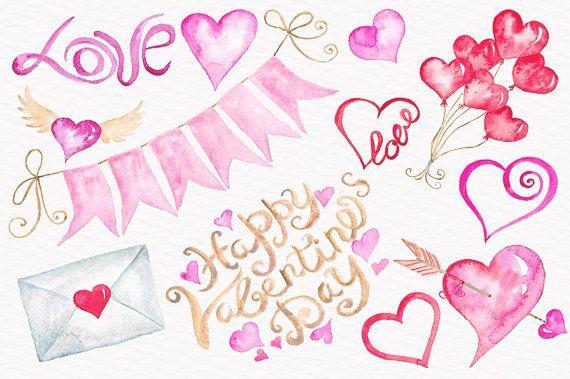 Valentine clipart watercolor. Hearts love