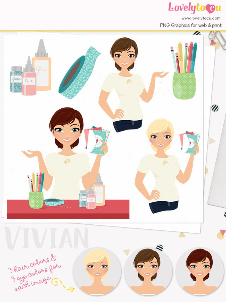 Crafty girl character greeting. Craft clipart woman