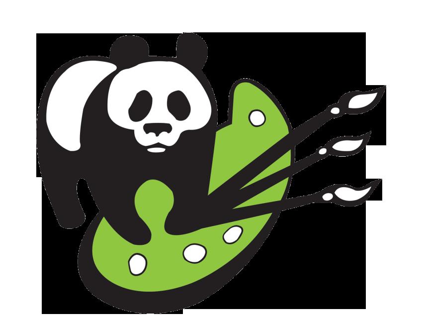 Paintbrush clipart acrylic paint. Panda paints