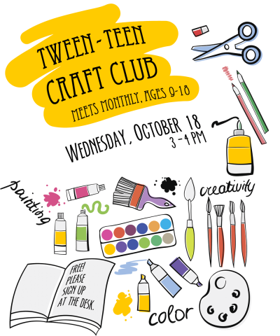 Crafts clipart craft club. Tween teen sc hancock