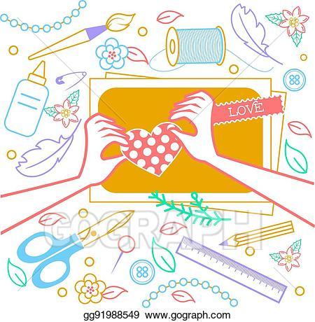 Vector art con for. Crafts clipart creativity