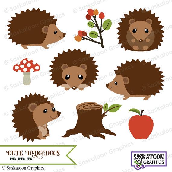 Cute hedgehog instant download. Woodland clipart porcupine