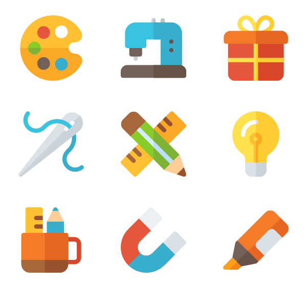 Computer icons craft clip. Crafts clipart different material