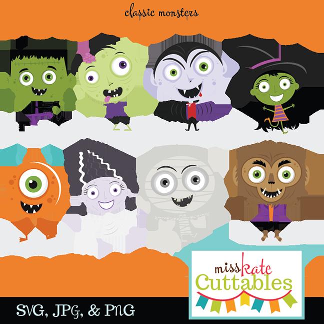 Crafts clipart halloween. Classic monster svg bundle