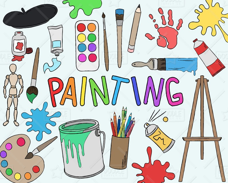 Painting vector pack art. Painter clipart artisit