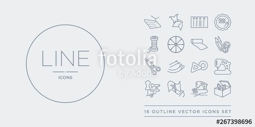 line vector icons. Crafts clipart sewing box