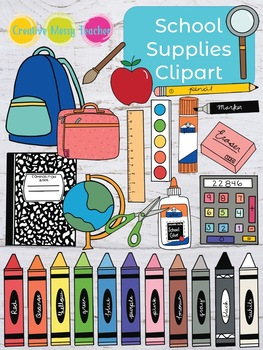 School supplies doodles . Crafts clipart teaching supply