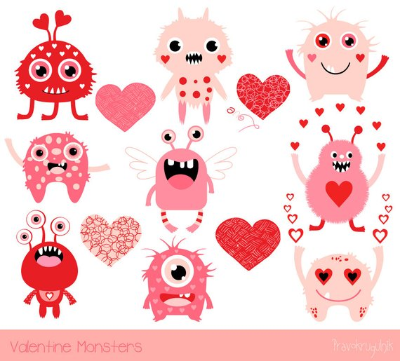 Monsters kids . Valentine clipart cute