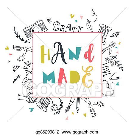 Vector handmade art fair. Crafts clipart workshop